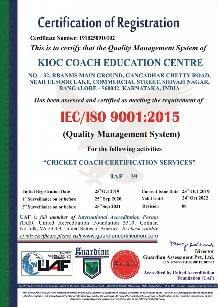 KIOC COACH EDUCATION CENTRE ISO 9001Final